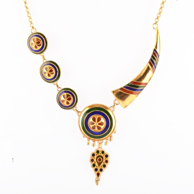 'Pepa Japi Doogdoogi Haar' Assamese Traditional Jewellery Necklace Earrings Set(#209)-gallery-1