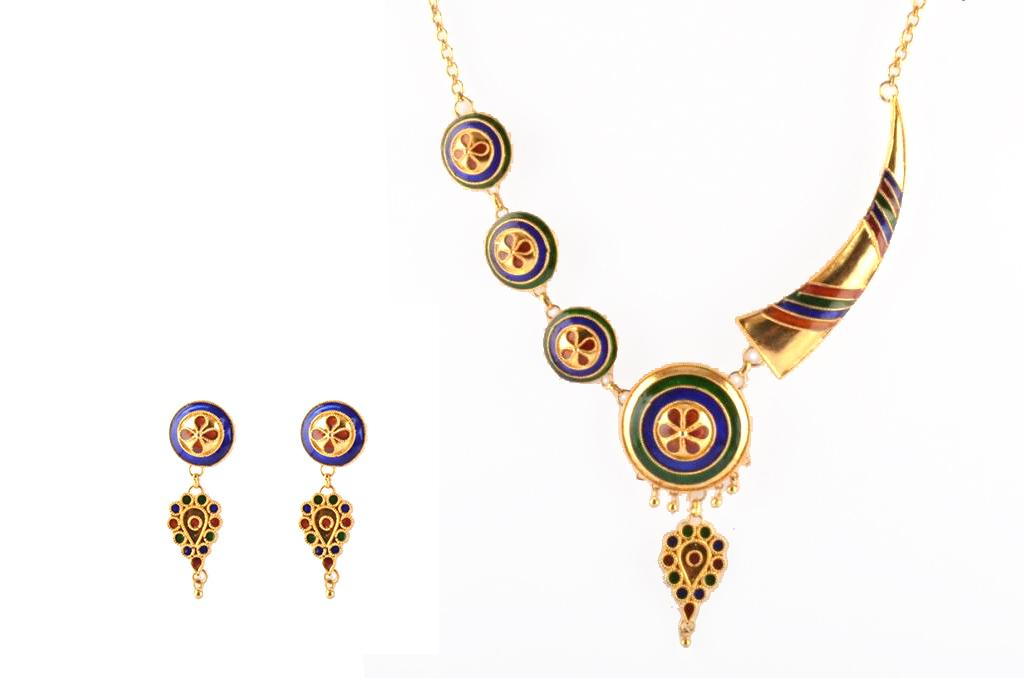 Pepa Japi Doogdoogi Haar Assamese Traditional Jewellery Necklace Earrings Set(#209)-gallery-0