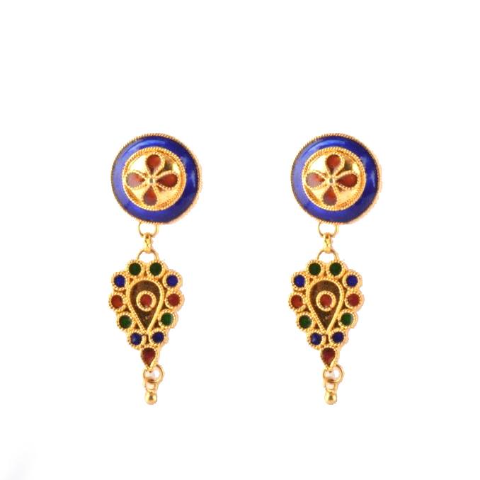 'Pepa Japi Doogdoogi Haar' Assamese Traditional Jewellery Necklace Earrings Set(#209)-gallery-2