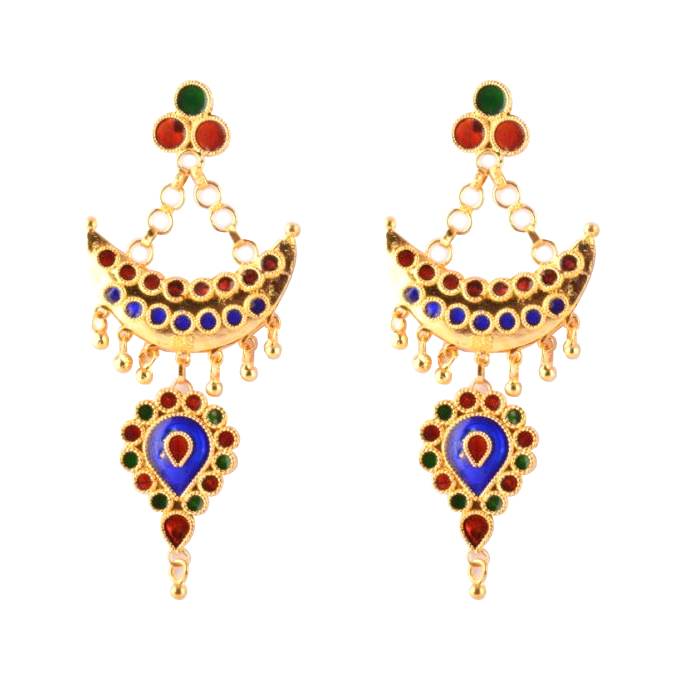 Designer Jewellery Set 'Junbiri Doogdoogi Haar' (Multicolored)(#212)-gallery-2