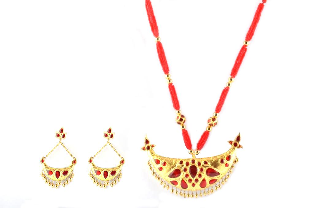 Kesa Xun(Raw and Pure Gold) Big Junbiri - Assamese Jewellery Set for Women(#213)-gallery-0