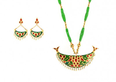 Junbiri (Green Red and Gold) Glamorous Jewellery from Assam(#215)-gallery-0