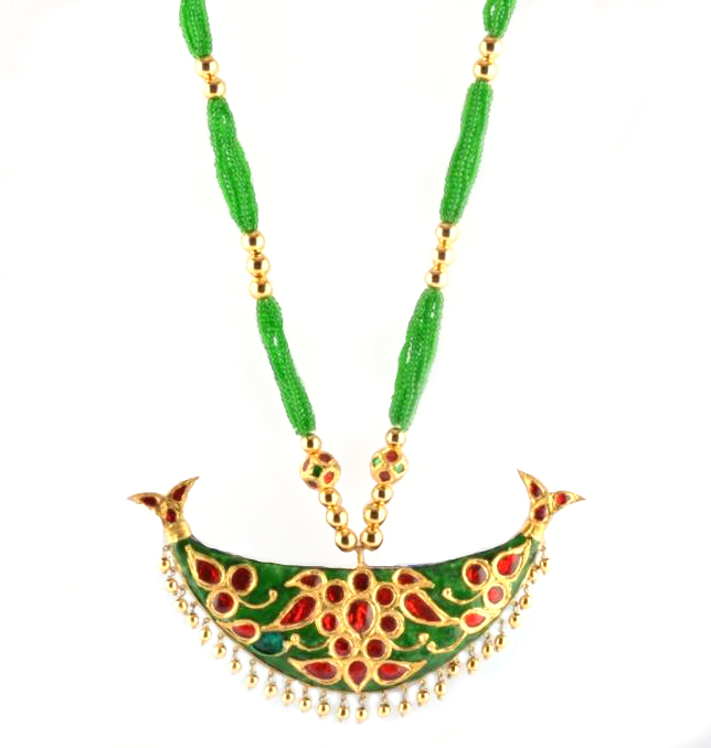 Junbiri (Green, Red and Gold) Glamorous Jewellery from Assam(#215)-gallery-1
