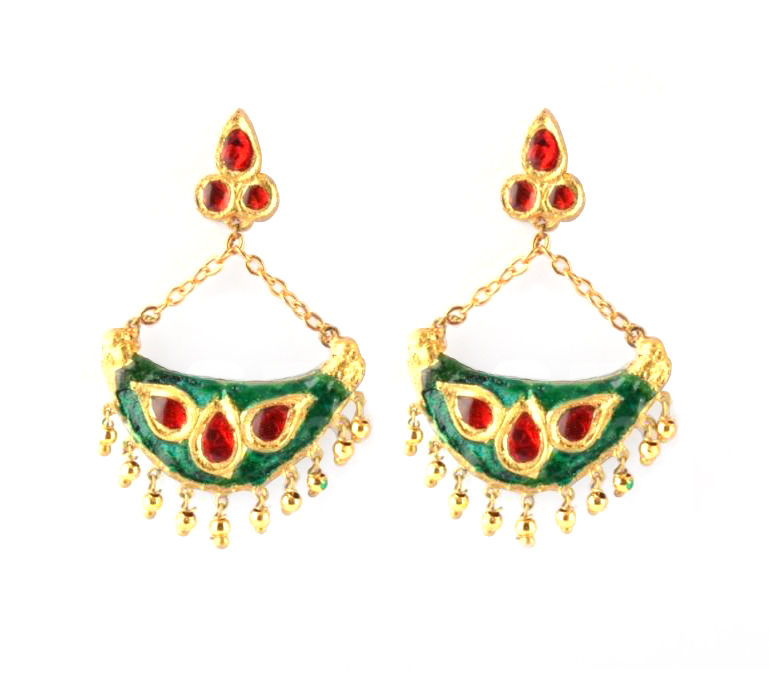 Junbiri (Green, Red and Gold) Glamorous Jewellery from Assam(#215)-gallery-2