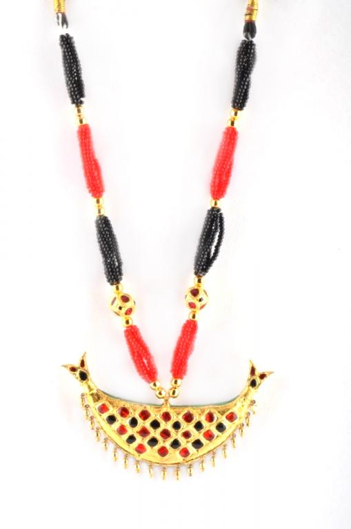 Traditional Assamese Jewellery - Junbiri, Gold, Black and Red(#218)-gallery-1