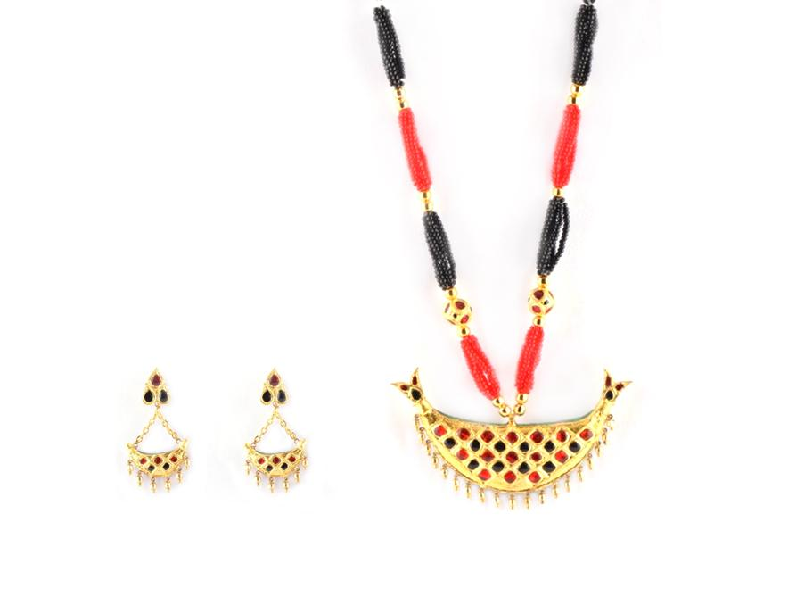 Traditional Assamese Jewellery - Junbiri, Gold, Black and Red(#218)-gallery-0