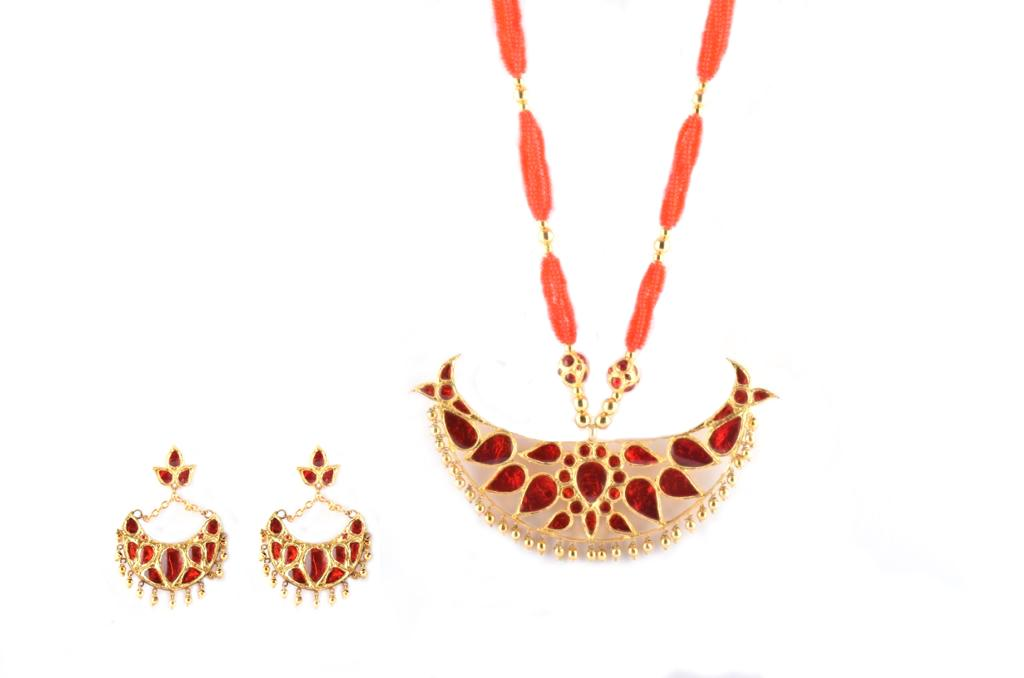 'Big Bena' Assamese Traditional Necklace and Earrings Jewellery Set(#219)-gallery-0
