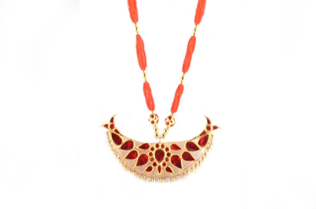 'Big Bena' Assamese Traditional Necklace and Earrings Jewellery Set(#219)-gallery-2