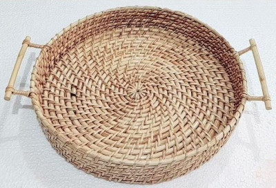 Rattan Cane Round Tray(#2197)-gallery-0