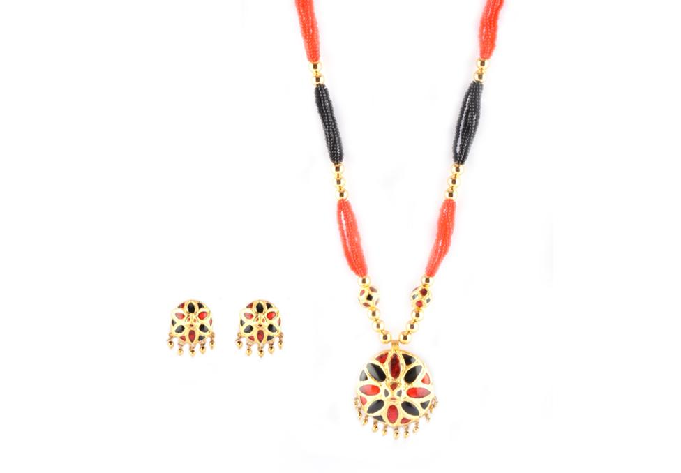 'Jaapi' Designer Jewellery Set from Assam(#221)-gallery-0