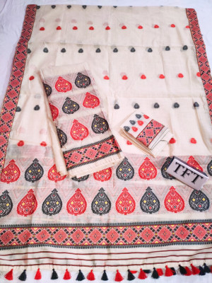 Khadi Cotton Mekhela Chador D19(#2219)-gallery-0
