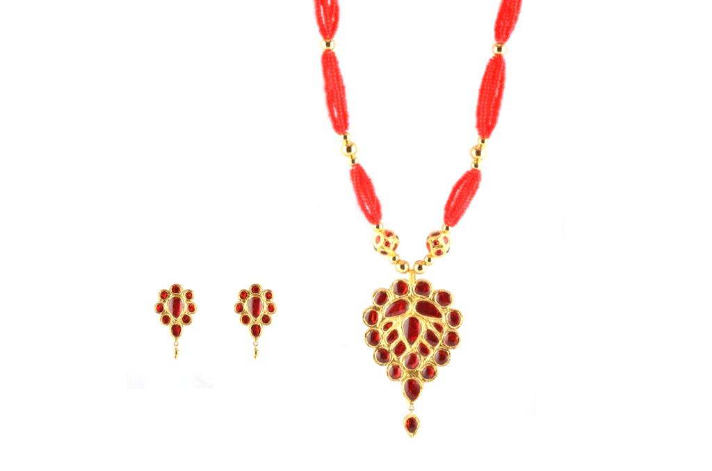 Traditional Designer Jewellery 'Doogdoogi' from Assam Necklace Earrings Set(#222)-gallery-0