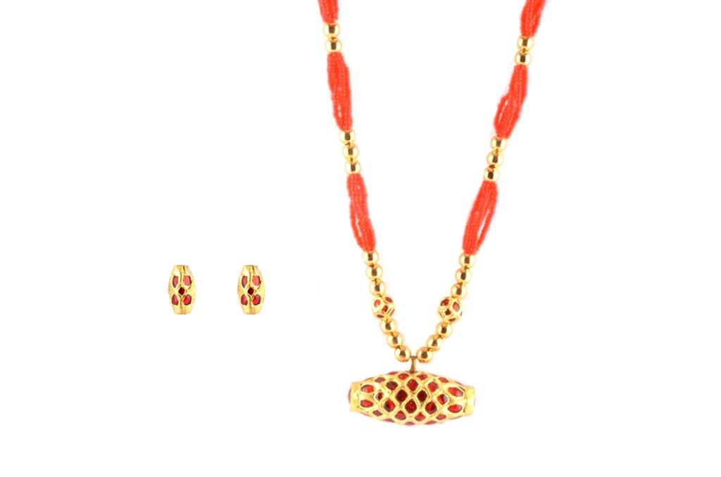 Classic Assamese Traditional Jewellery Dholbiri Pendant Set(#224)-gallery-0
