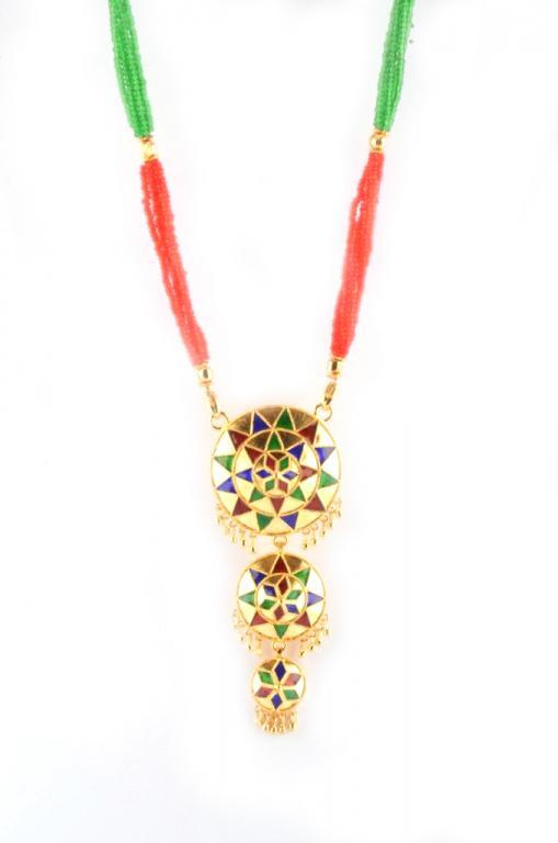 Exotic 3 Piece Jaapi Haar(Assamese Jewellery)(#226)-gallery-2