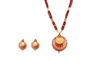 Assamese Traditional Jewellery Keru (Red and Golden color) Necklace Set(#228)-gallery-0