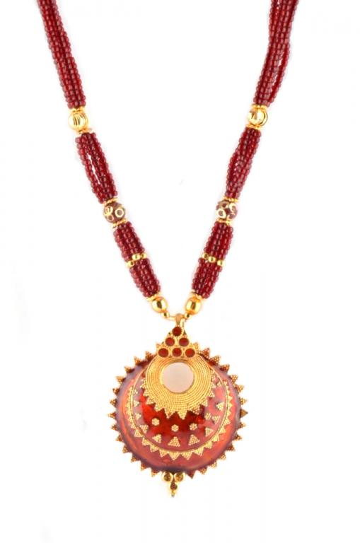 Assamese Traditional Jewellery 'Keru' (Red and Golden color) Necklace Set(#228)-gallery-2