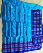 Dark Blue Mekhela Blouse Light Blue Chador Assamese Paat Style 1(#2306) - Getkraft.com