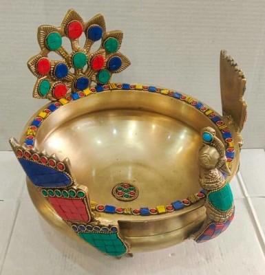 Brass Peacock Urli Bowl with Stone(#2335)-gallery-0