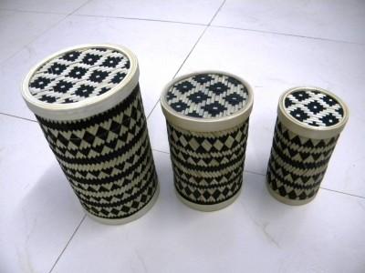Bamboo Cylindrical Box (Black)(#2383)-gallery-0
