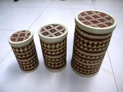Bamboo Cylindrical Box (Maroon)(#2384)-gallery-0