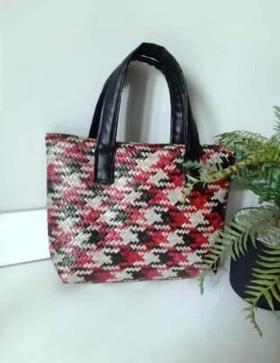 Seagrass Sital Pati Ladies Handbag Red black(#2420)-gallery-0