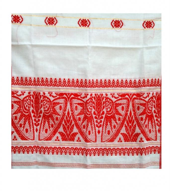 Assamese Ethnic Gamosa with Imprinted Flowers(#301)-gallery-1