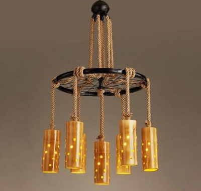 Bamboo Lamp Chandelier(#349)-gallery-0