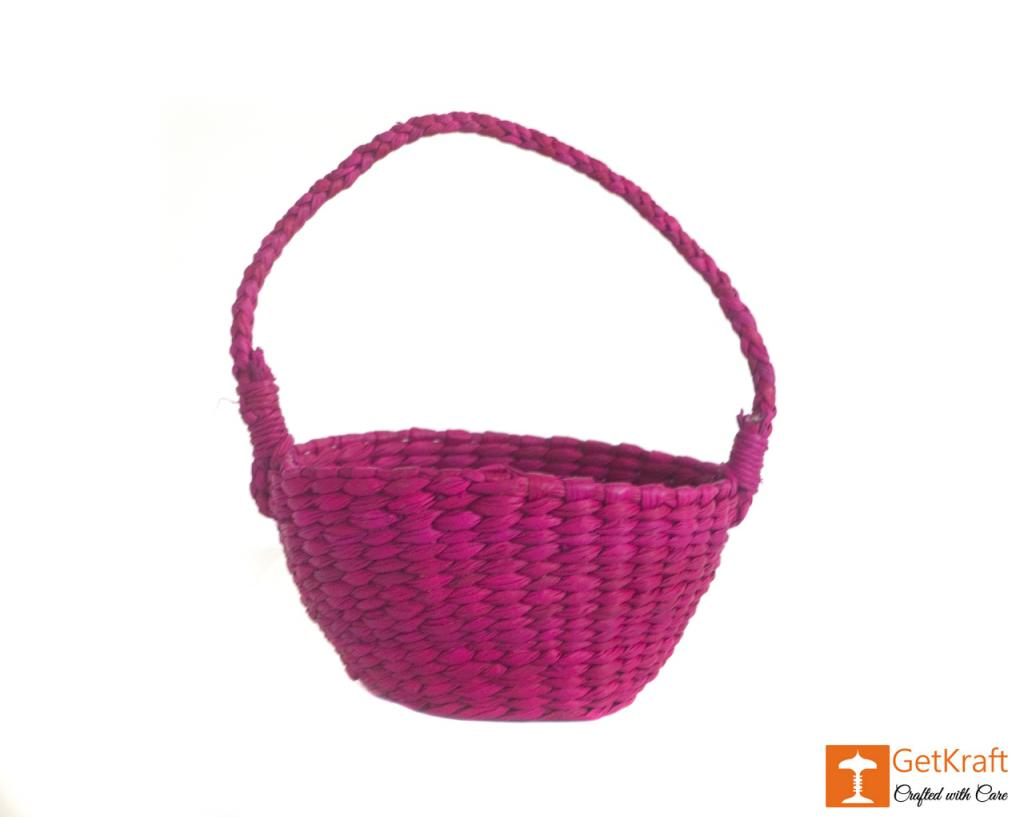 Kauna Handmade Purple Small Basket(#382)-gallery-0