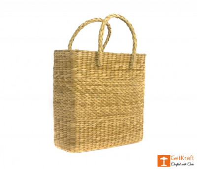 Natural Straw Handmade Shopping Tote Bag(#386)-gallery-0