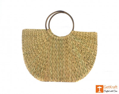 Natural Straw Handmade U- Bag Large(#387)-gallery-0