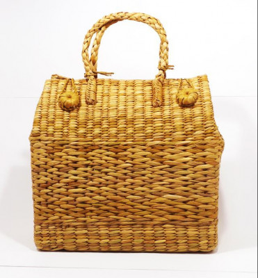 Natural Straw Grass Handmade Picnic Basket(#397)-gallery-0
