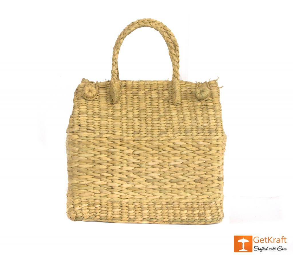 Natural Straw Grass Handmade Picnic Basket(#397)-gallery-1