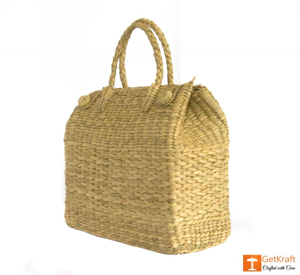 Natural Straw Grass Handmade Picnic Basket(#397)-gallery-3