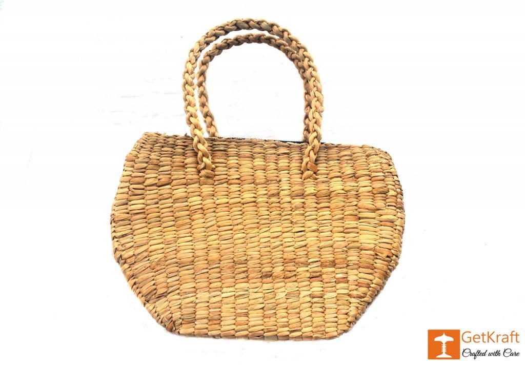 Water Hyacinth Oval Shape Hand Bag(#417)-gallery-1