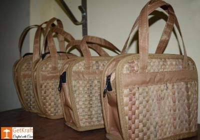 Natural Straw Designer Bowler Bag(#421)-gallery-0