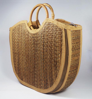 Natural Straw Handmade Large U-bag(#426)-gallery-0
