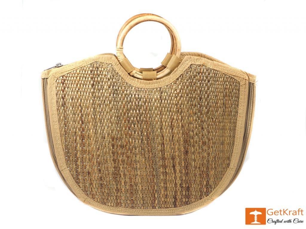 Water Hyacinth Handmade Large U-bag(#426)-gallery-1