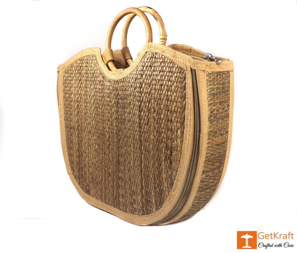 Water Hyacinth Handmade Large U-bag(#426)-gallery-2
