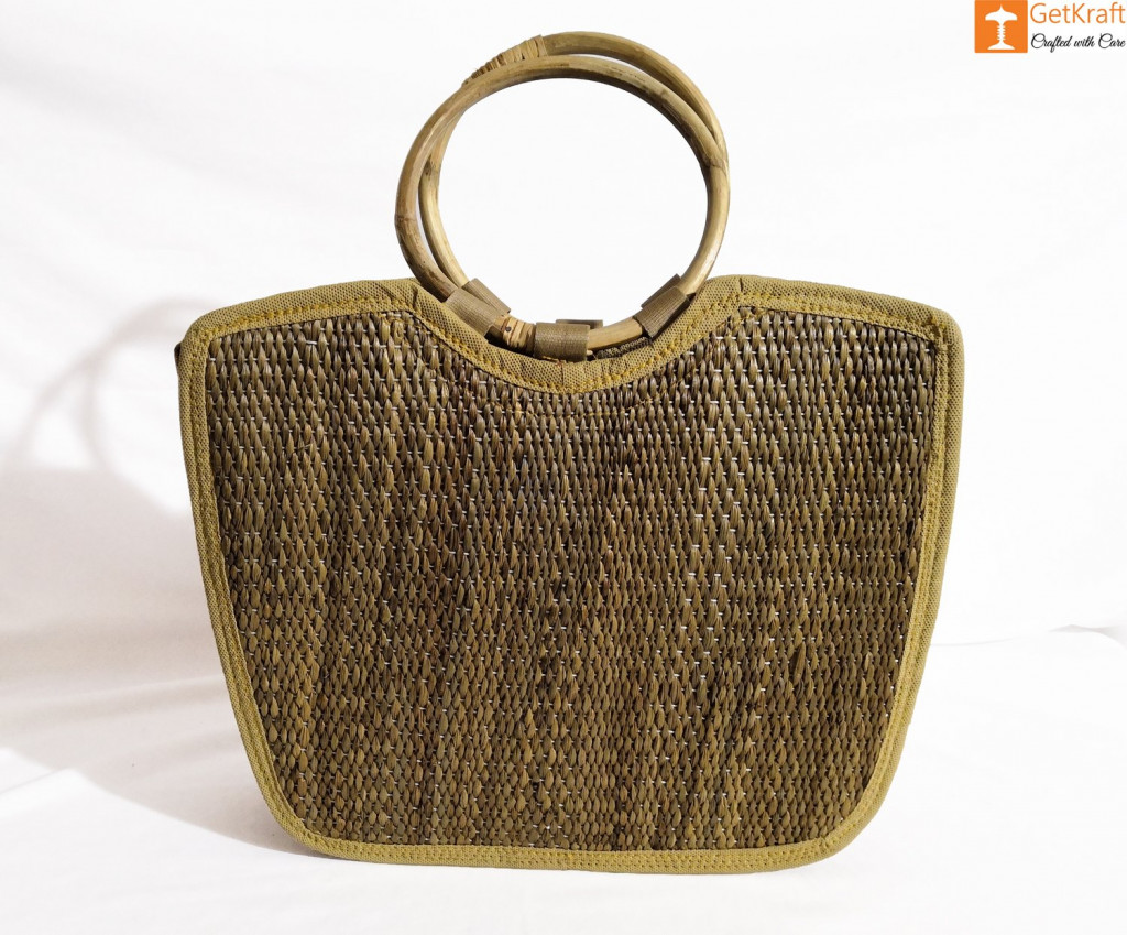 Water Hyacinth Handmade Large U-bag(#426)-gallery-4