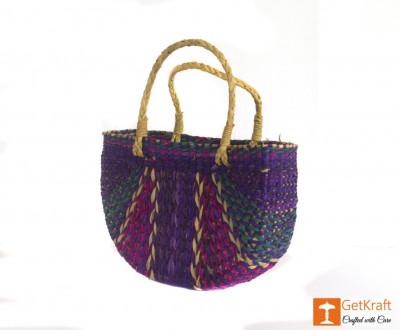 Natural Straw Handmade Multi-coloured Tote Handbag(#427)-gallery-0