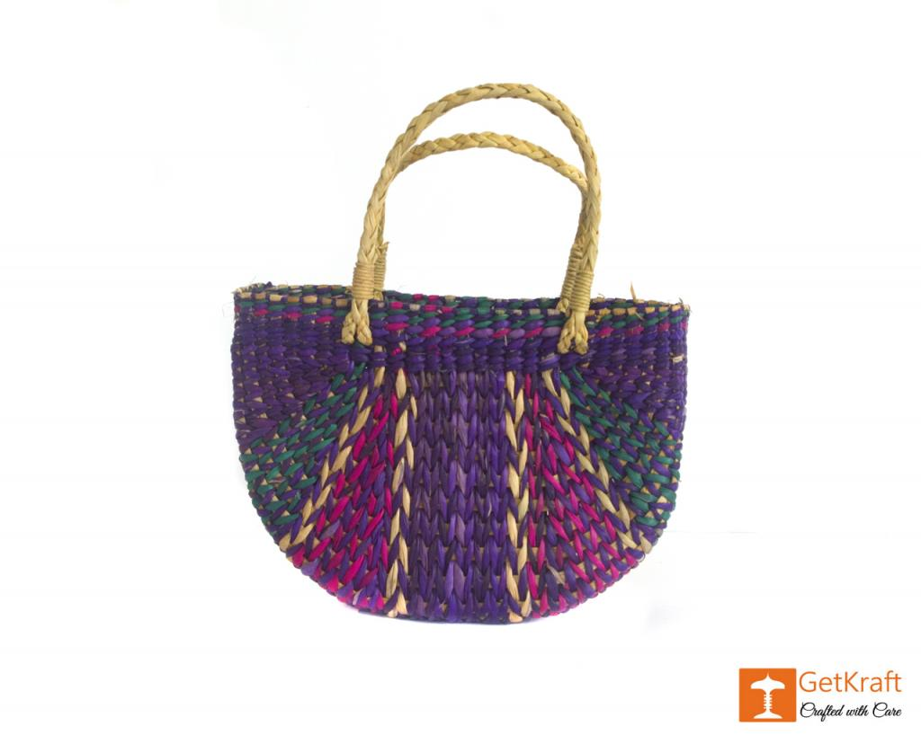 Water Hyacinth Handmade Multi-coloured Tote Hand Bag(#427)-gallery-1