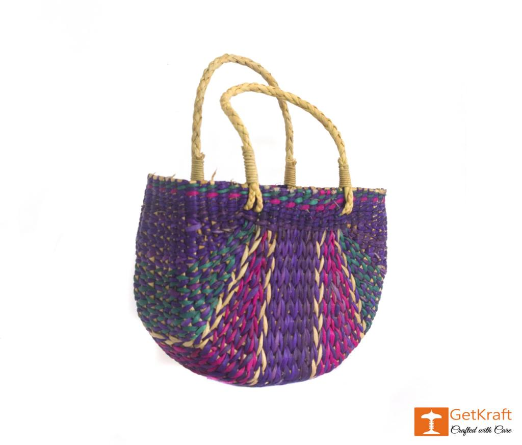 Water Hyacinth Handmade Multi-coloured Tote Hand Bag(#427)-gallery-2