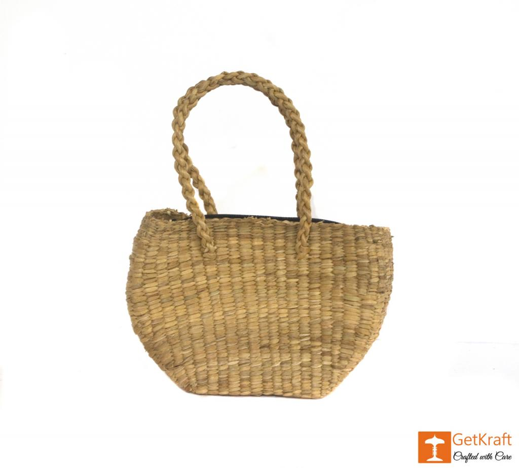 Water Hyacinth Medium-sized Oval Shape Hand Bag(#429)-gallery-1