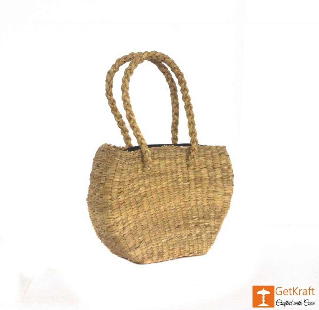 Water Hyacinth Medium-sized Oval Shape Hand Bag(#429)-gallery-0