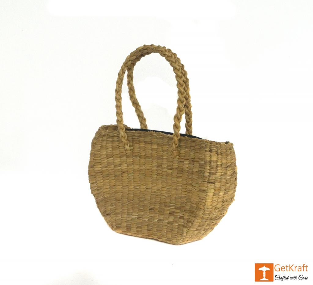 Water Hyacinth Medium-sized Oval Shape Hand Bag(#429)-gallery-2