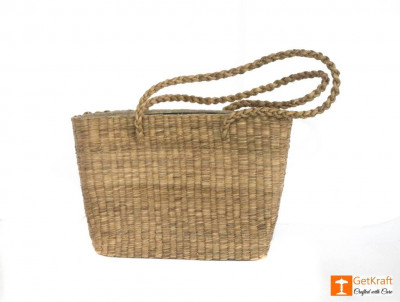 Natural StrawHandmade Bag with long handle(#430)-gallery-0