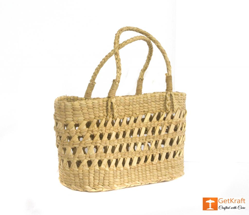 Natural Straw Handcrafted Net Basket(#433)-gallery-0