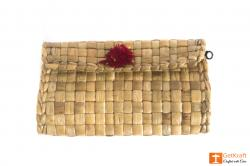 Water Hyacinth Small Purse with Red-Yellow Button(#434) - getkraft.com