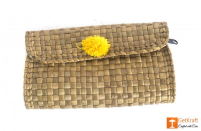 Natural Straw Handmade Purse with yellow button design(#435)-gallery-0