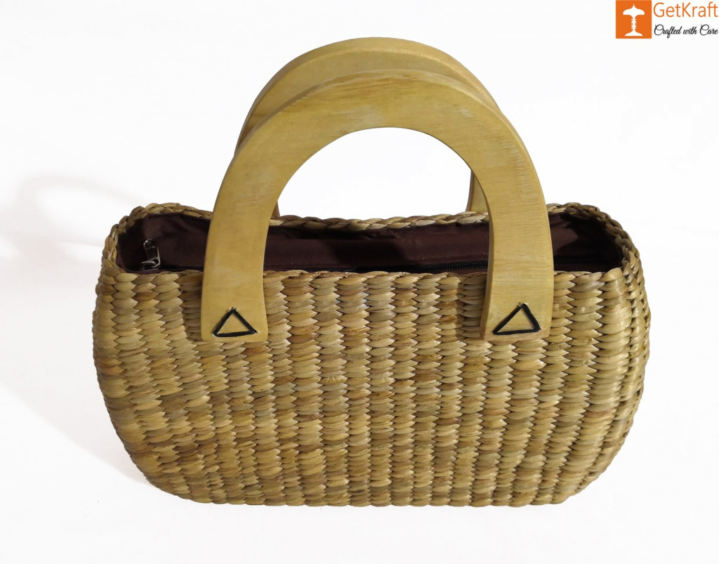 Natural Straw Oval Shaped Handbag with wooden handle(#436)-gallery-1